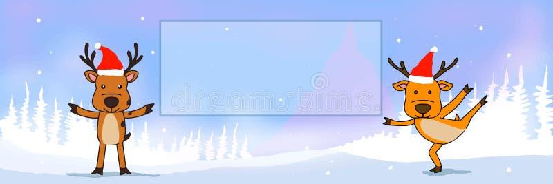 Ciervos y ornamento lindo, fondo nevoso y texturas stock de ilustración