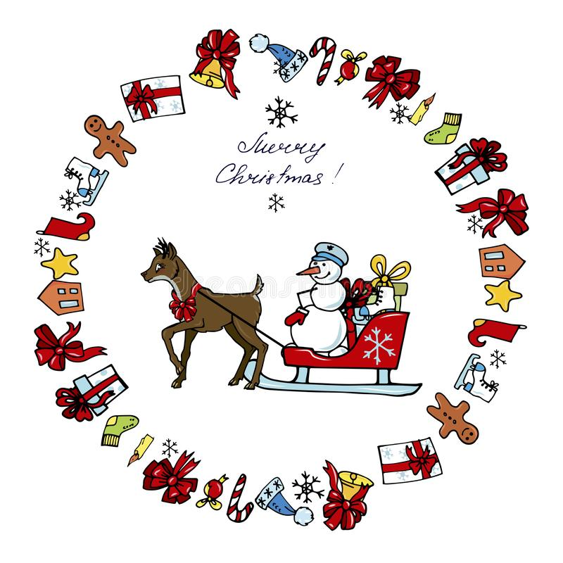 Ciervos y regalos conducidos muñeco de nieve ilustración del vector
