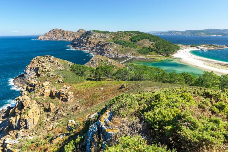 Cies Islands, National Park Maritime-Terrestrial of the Atlantic Islands, Galicia, Spain. Cies Islands, National Park Maritime-Terrestrial of the Atlantic stock images