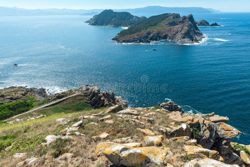 Cies Islands: South Island from Faro Island, National Park Maritime-Terrestrial of the Atlantic Islands, Galicia, Spain. Cies Islands: South Island from Faro stock photo