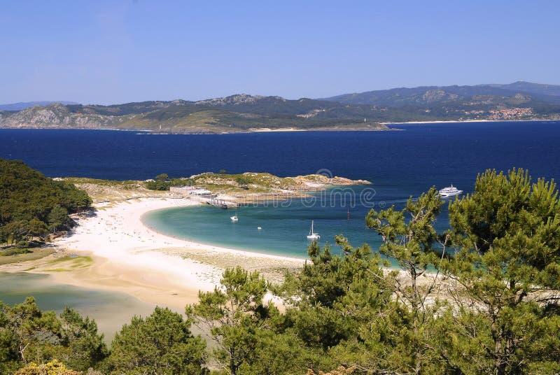 Cies Islands in Vigo, Spain. Cies Islands, National Park Maritime-Terrestrial of the Atlantic Islands of Galicia, Spain royalty free stock photography