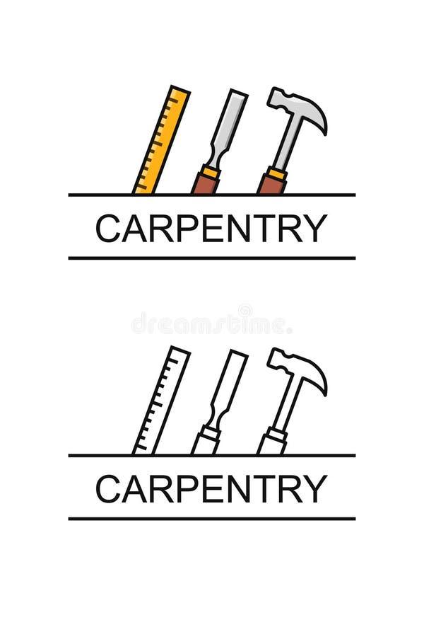 Ciesielka logo pojęcie z powiązanymi narzędziami ilustracji