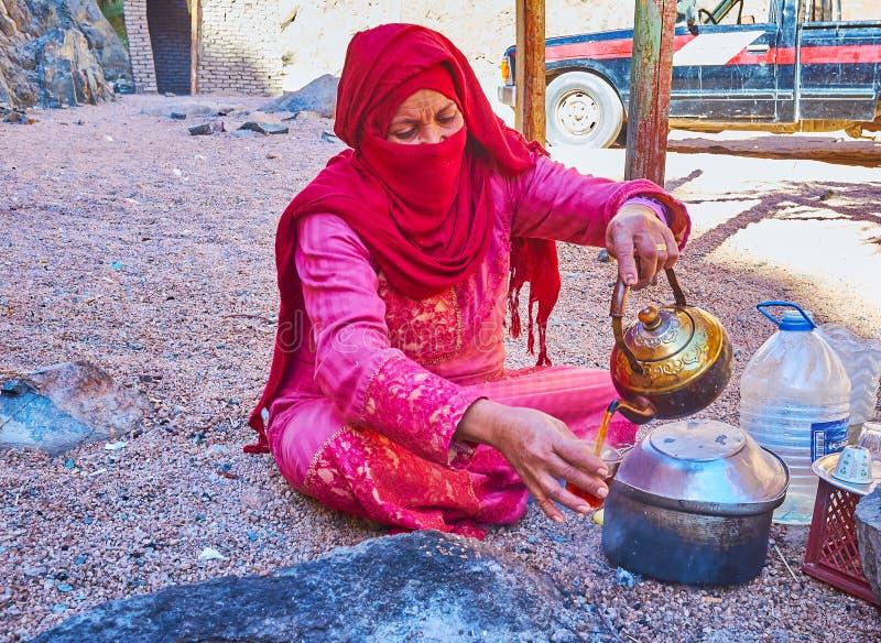 Cieszy się herbaty w pustyni, Synaj, Egipt zdjęcie stock