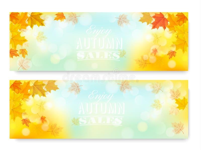 Cieszy się jesieni sprzedaży sztandary z kolorowymi liśćmi ilustracji