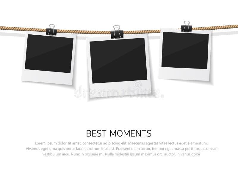 Cieszy się Każdy moment Set wektorowa polaroid fotografia wieszał na arkanie ilustracji