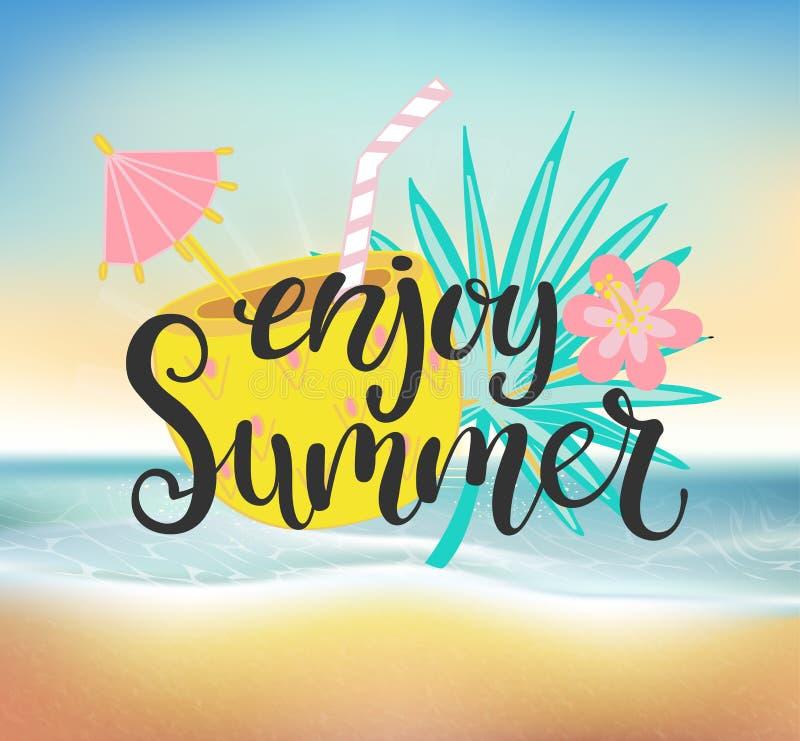 Cieszy się lato plaży przyjęcia ilustracja wektor