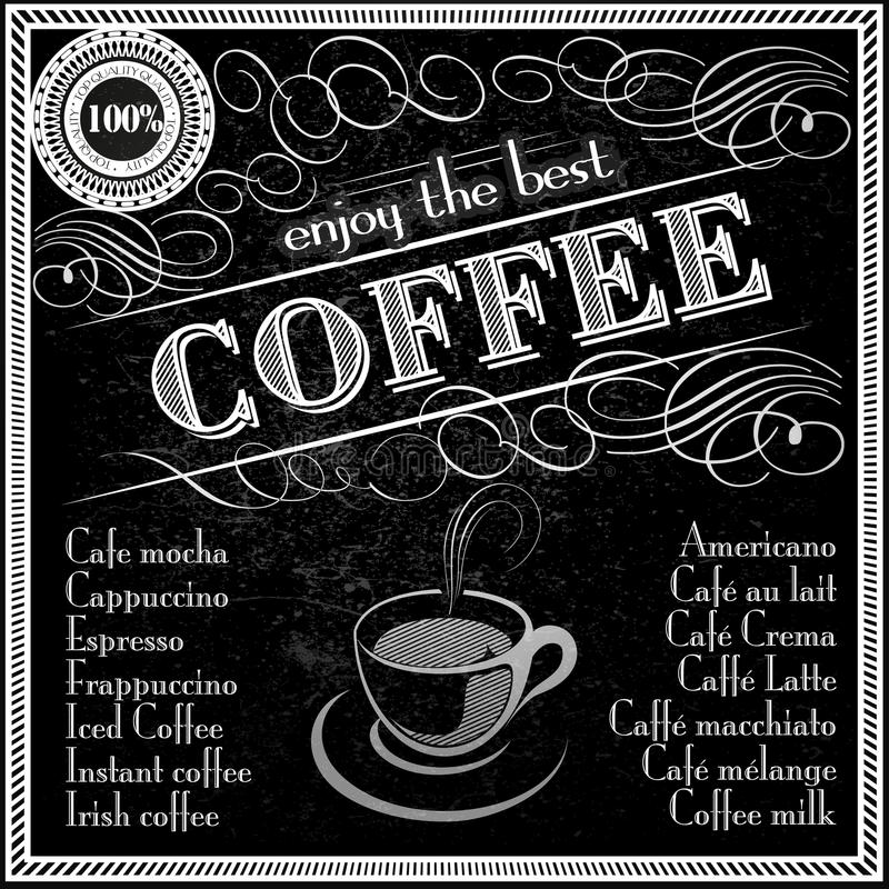 Cieszy się najlepszy kawowego typografia projekta menu ilustracja wektor