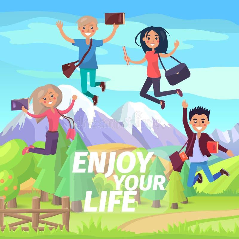 Cieszy się Twój życie wakacje lub weekendu doskakiwania ludzi ilustracja wektor