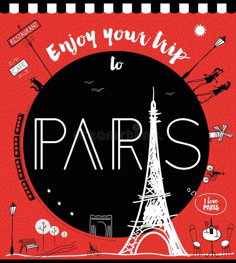 Cieszy się twój wycieczkę Paryż ilustracja wektor
