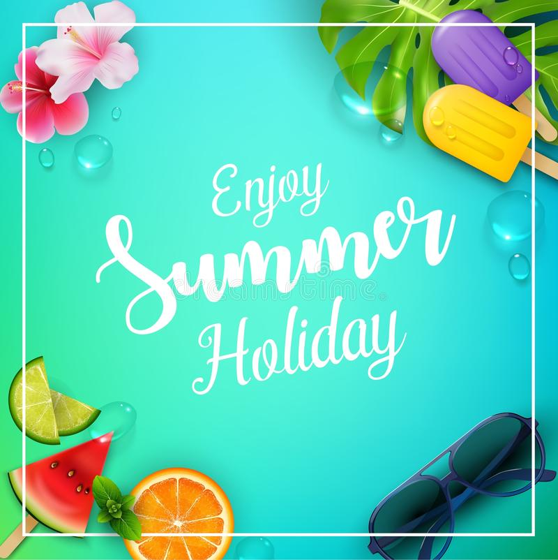 Cieszy się wakacje letni z lody, arbuzem, kwiatem, liśćmi, pomarańcze, wapnem i okularami przeciwsłonecznymi, ilustracji
