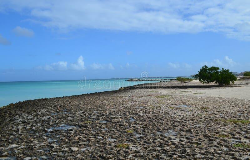 Cieux bleus au-dessus des eaux tropicales avec Lava Rock photo libre de droits