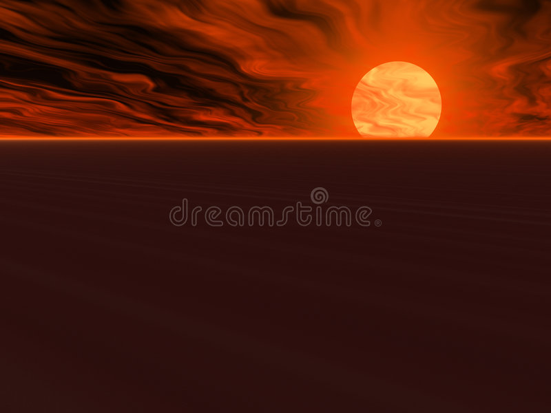 Cieux de flambage de désert illustration stock