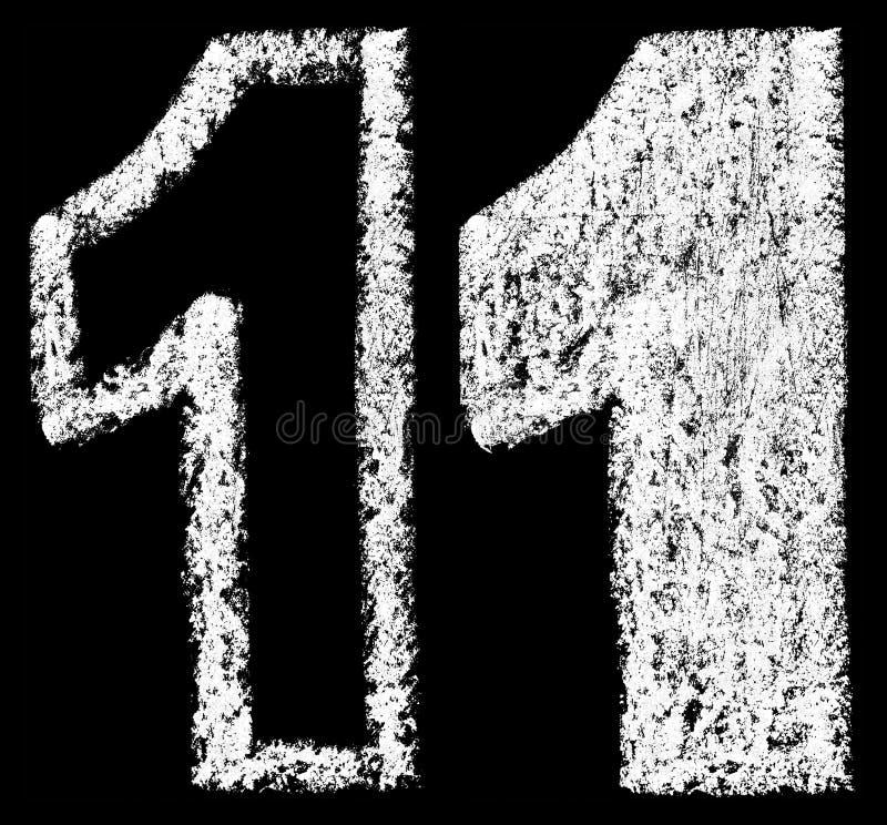 Cifra araba 1 del gesso bianco scritto a mano illustrazione vettoriale