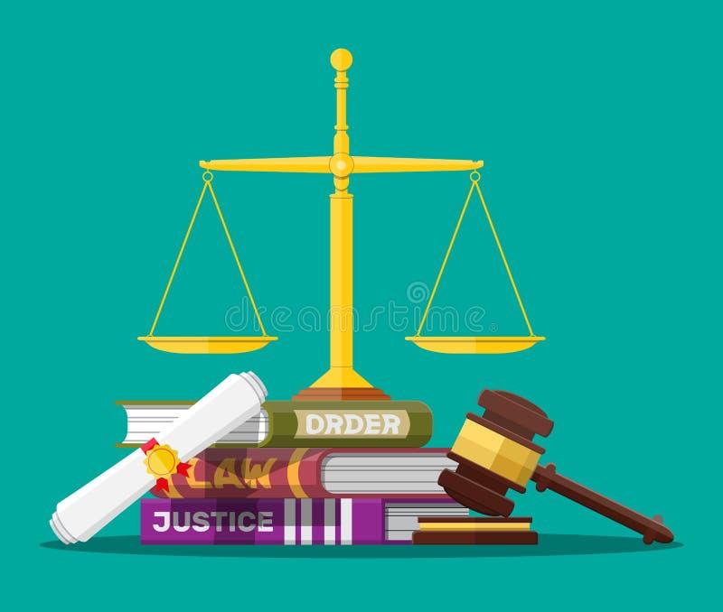 Cifrari di legge, scale della giustizia e martelletto del giudice royalty illustrazione gratis