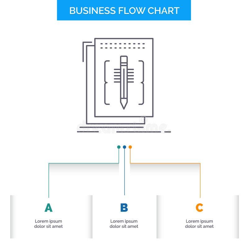 Cifre, corrija, redactor, lengua, dise?o del organigrama del negocio del programa con 3 pasos L?nea icono para la plantilla del f ilustración del vector