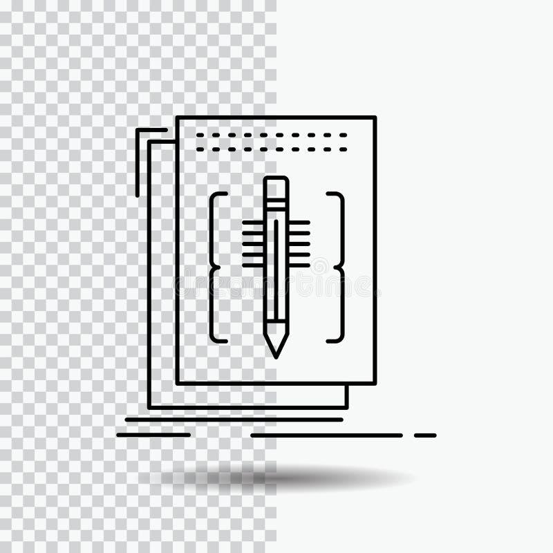Cifre, corrija, redactor, lengua, línea de programa icono en fondo transparente Ejemplo negro del vector del icono stock de ilustración
