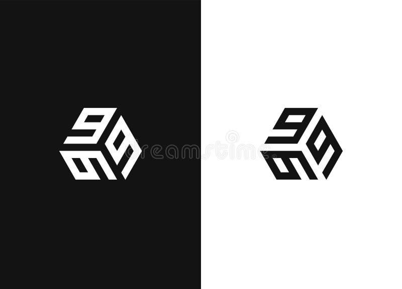 Cifre 9 di logo tre Segno geometrico creativo semplice illustrazione di stock