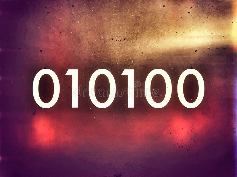 Cifre di programmazione una di codice macchina di tecnologia zero su stile scuro illustrazione vettoriale