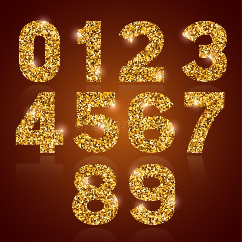 Cifre dorate messe illustrazione vettoriale
