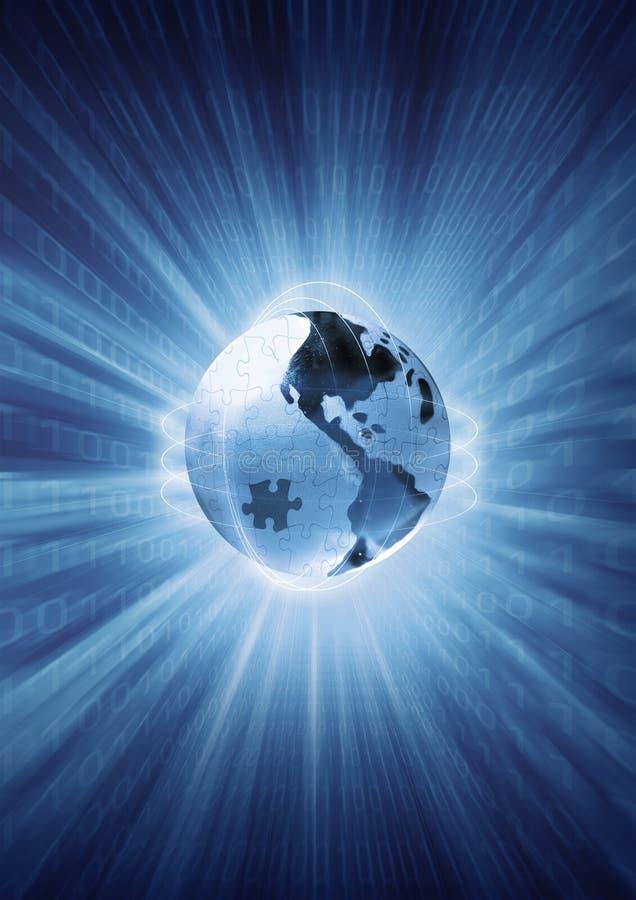 Cifre e trasferimento di dati sul pianeta, puzzle del globo della terra. illustrazione concettuale illustrazione di stock
