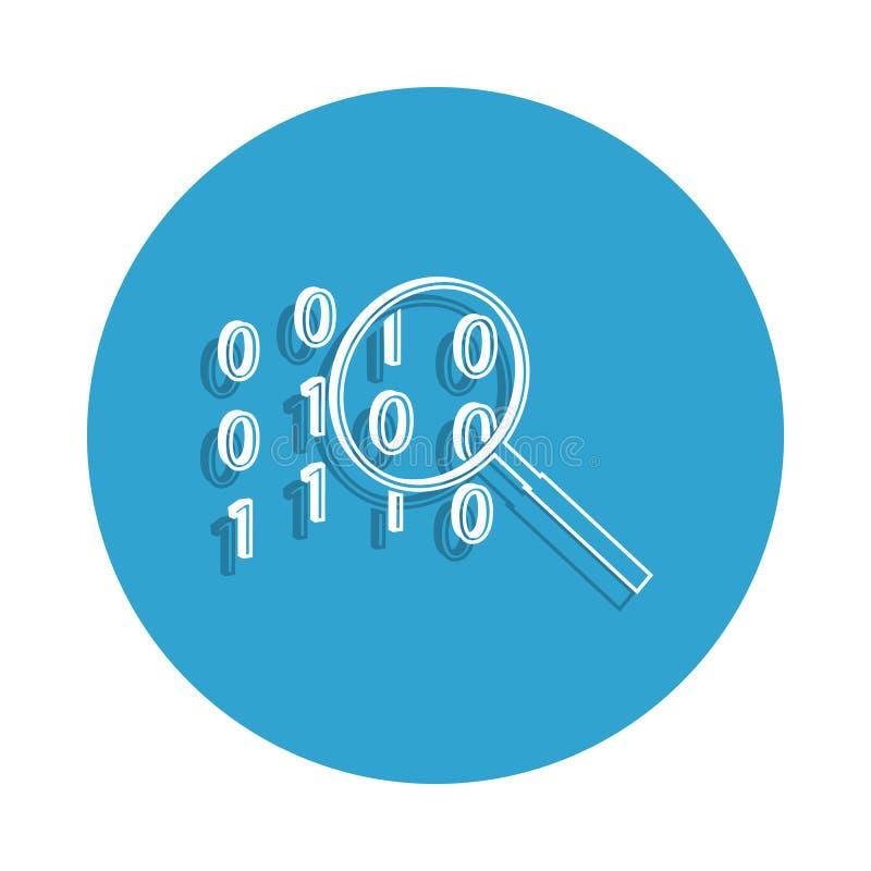cifre el icono de la búsqueda en estilo de la insignia Uno del icono cibernético de la colección de la seguridad se puede utiliza ilustración del vector