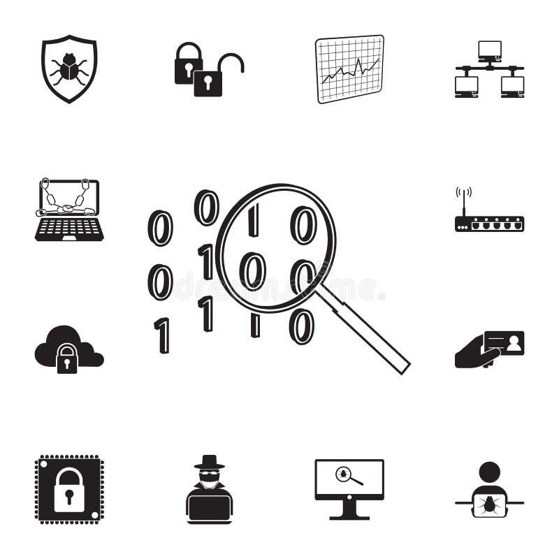 cifre el icono de la búsqueda Sistema detallado de iconos cibernéticos de la seguridad Muestra superior del diseño gráfico de la  libre illustration