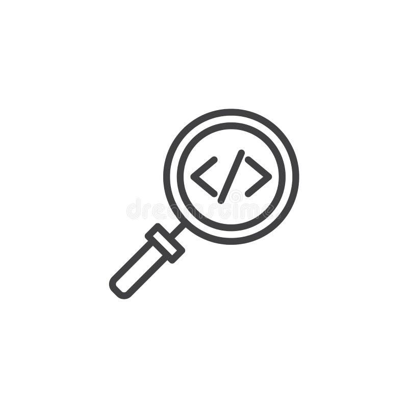Cifre el icono del esquema de la búsqueda stock de ilustración