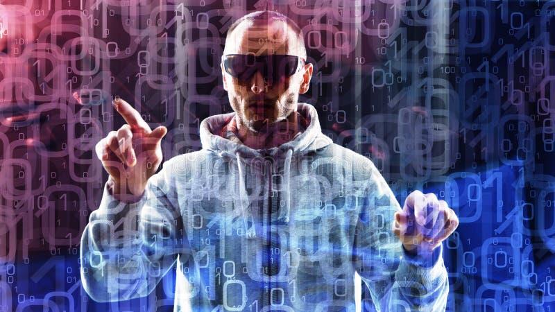 Cifre zero una, fondo astratto e pirata informatico di computer fotografie stock