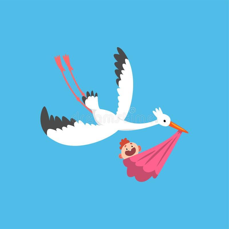 Paquetes Para Bebes Recien Nacidos.Ciguena Blanca Que Entrega A Un Bebe Recien Nacido Pajaro