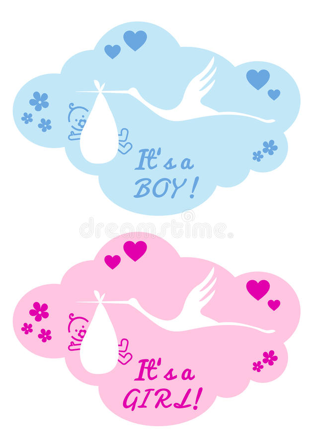 Cigüeña con el bebé y la muchacha, vector libre illustration