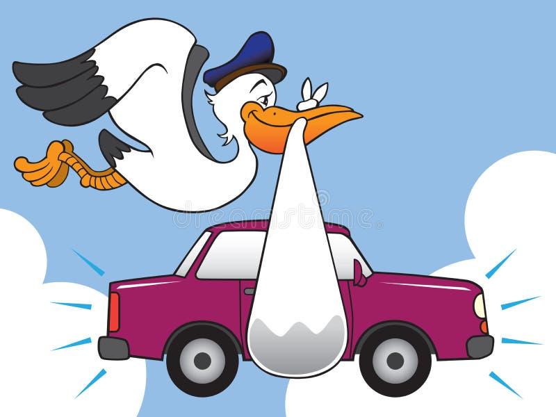 Cigüeña con el nuevo coche ilustración del vector