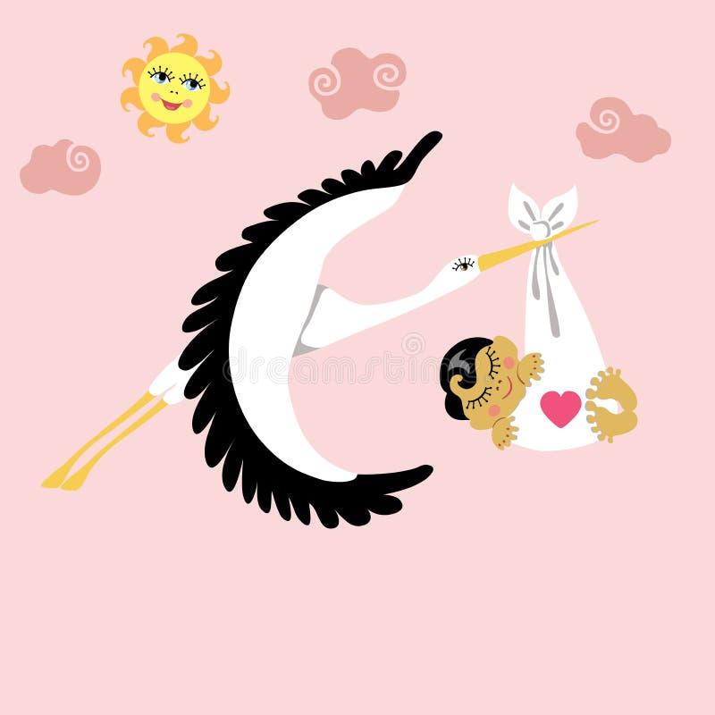 Cigüeña con el vuelo recién nacido asiático del bebé en cielo stock de ilustración