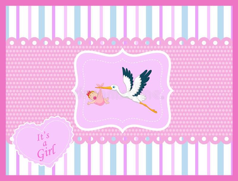 Cigüeña de la historieta con la tarjeta del bebé stock de ilustración