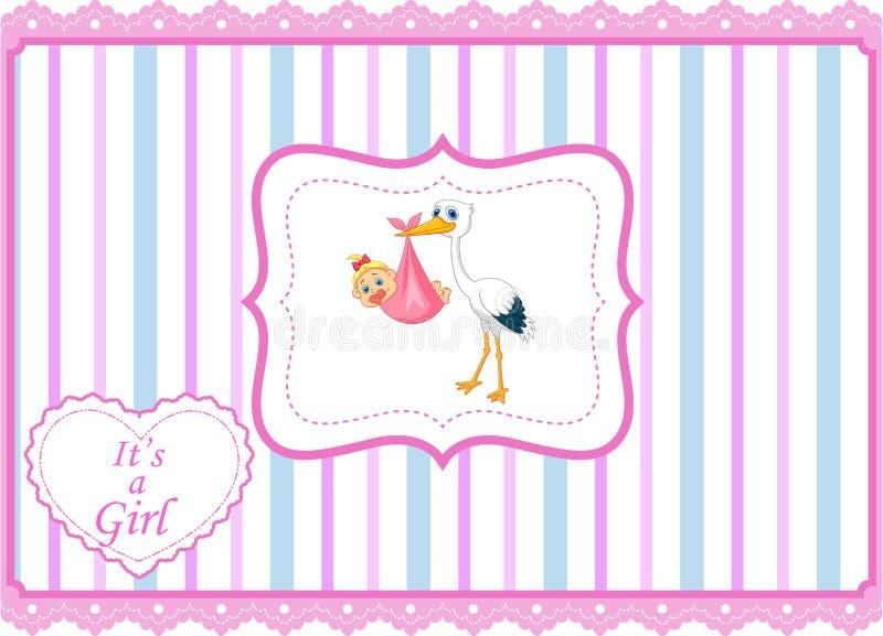 Cigüeña de la historieta con la tarjeta del bebé libre illustration