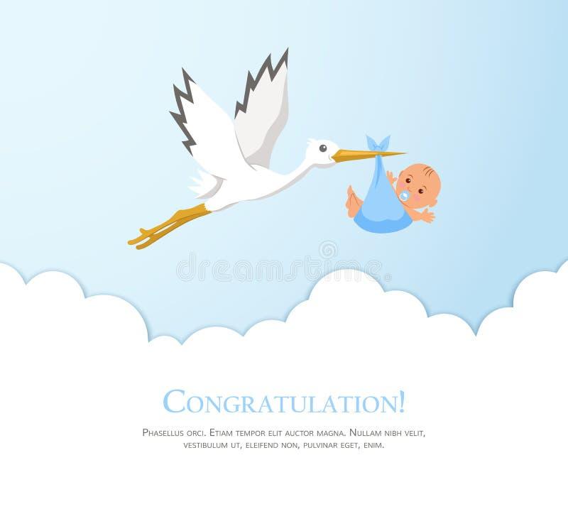 Cigüeña de la historieta en cielo con el bebé Diseñe la plantilla para la tarjeta de felicitación, invitación de la fiesta de bie stock de ilustración