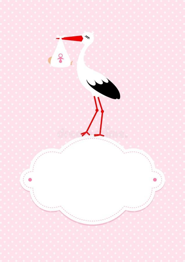 Cigüeña vertical de la muchacha de la tarjeta del bebé en la nube Dots Background Pink stock de ilustración
