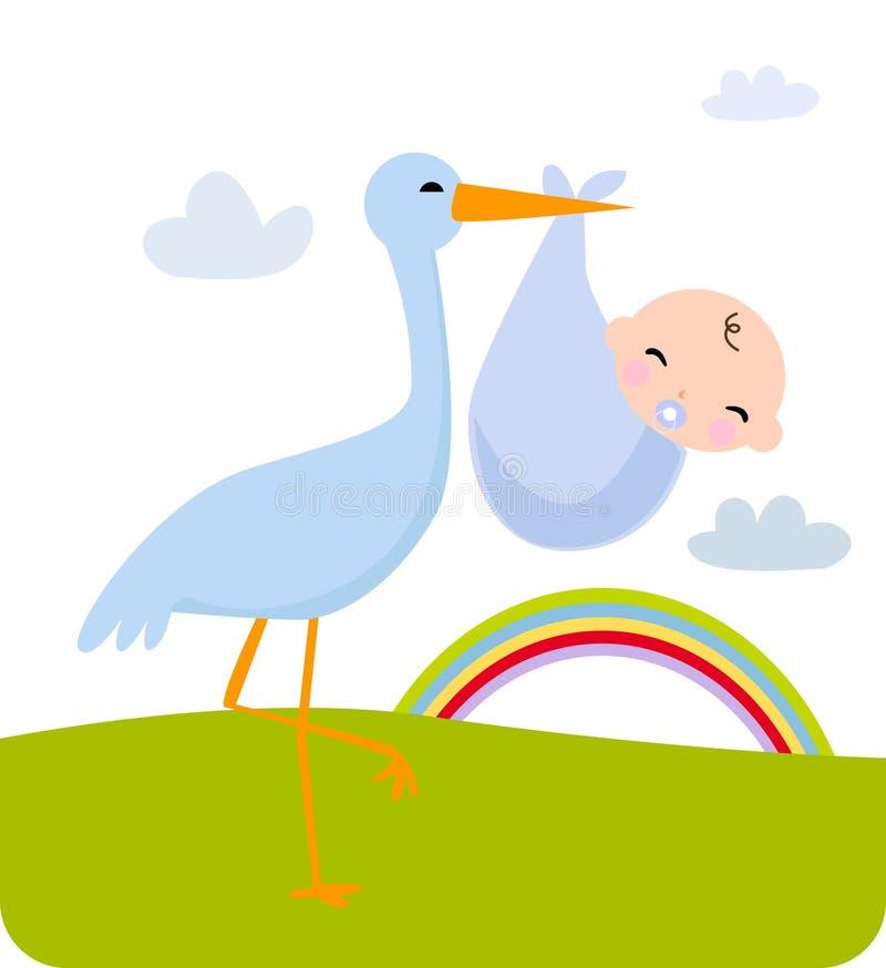 Cigüeña y bebé foto de archivo