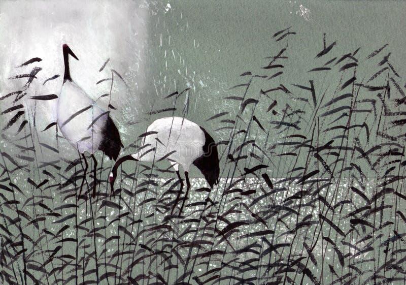 Cigüeñas de los pájaros en las cañas stock de ilustración