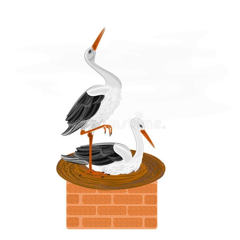 Cigüeñas y jerarquía en un vector de la chimenea libre illustration