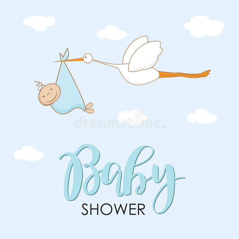 Cig?e?a de la historieta en cielo con el beb? Dise?e la plantilla para la tarjeta de felicitaci?n, invitaci?n de la fiesta de bie libre illustration