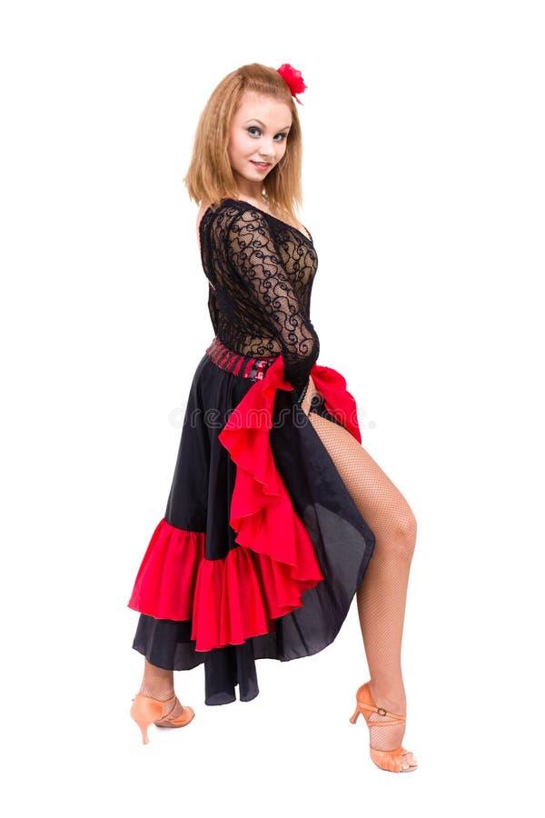 Cigano da mulher do dançarino do flamenco com o fã espanhol da mão imagens de stock royalty free