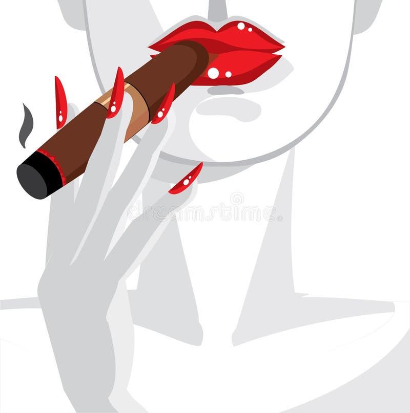 Cigar. Woman in red, smoking a cigar vector illustration