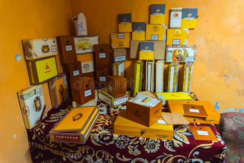 Cigar boxes. Seller in Cuba stock photos