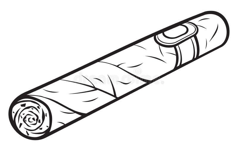 Cigar. Cartoon cigar, white plate, havana cigar