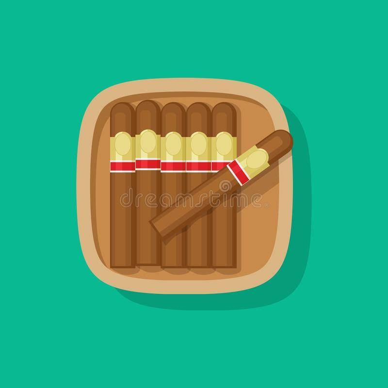 Free Cigar Cuban Wooden Box Or Case Vector Icon Flat Cartoon Design Clipart Stock Image - 165902861