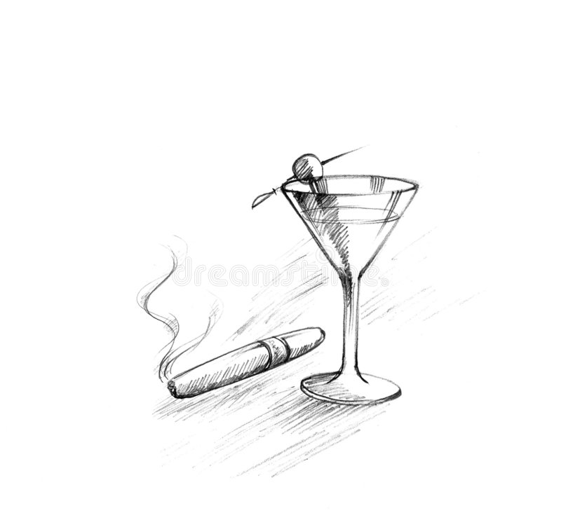 Cigar with drink. Sketch of cigar and glass stock illustration