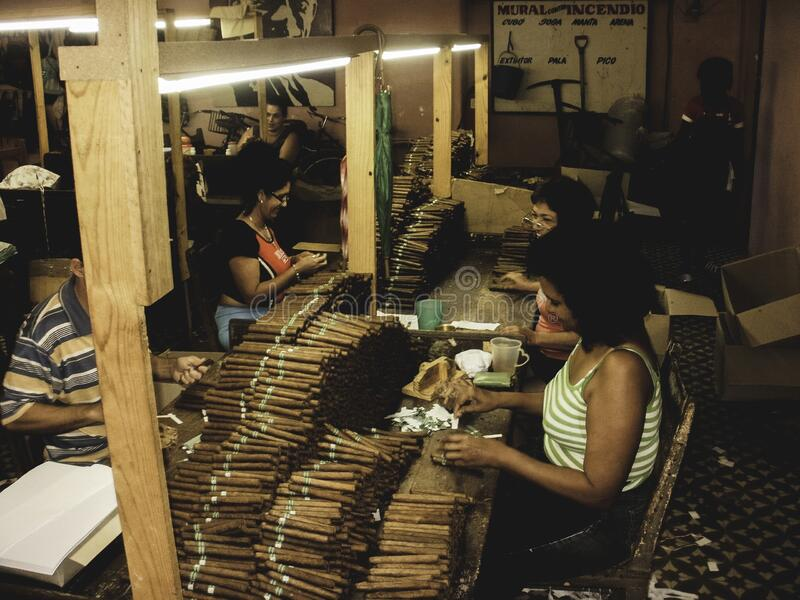 A Cigar factory in the small town on Cuba in the caribbean sea. Cuban women sorting and rolling toba stock photos