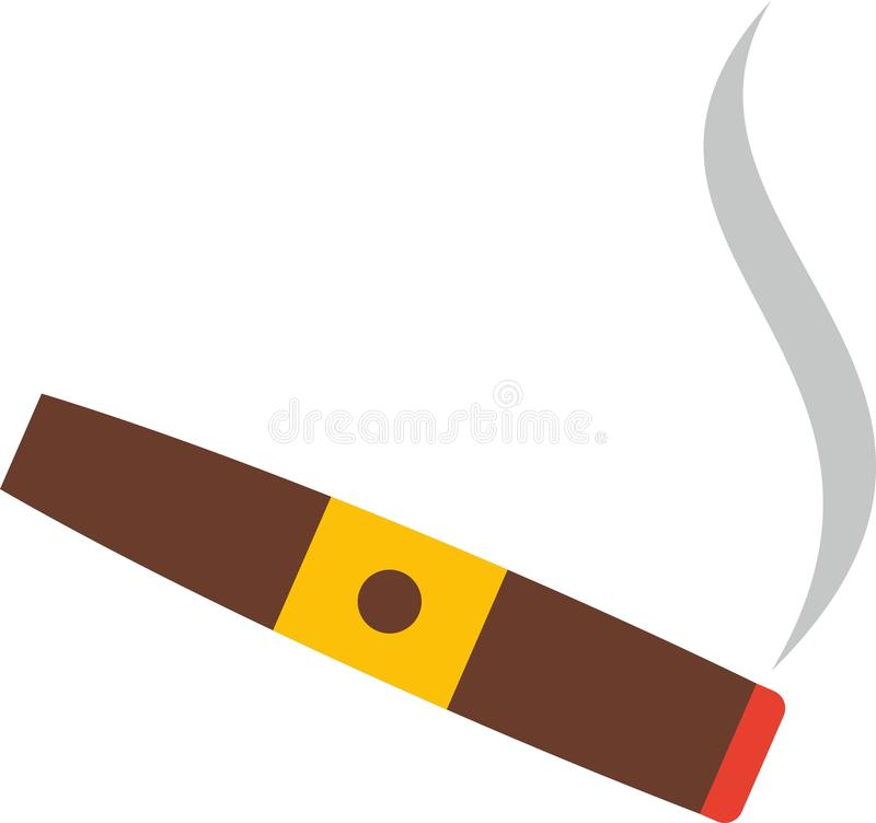 Cigar. Flat cigar with smoke and gold stripe vector illustration