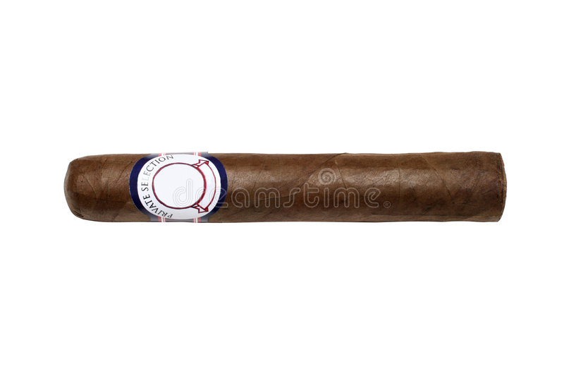 Cigar isolated with blank label and clipping path stock photography
