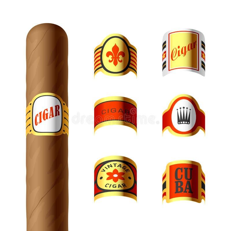 Cigar labels. Set of cigar labels illustration royalty free illustration